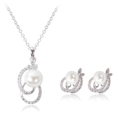 Sweet Rhinestone Faux Pearl Hollow Out Oval Necklace and Earrings