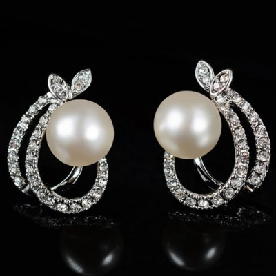 Фотография A Suit of Sweet Rhinestone Faux Pearl Hollow Out Oval Necklace and Earrings For Women