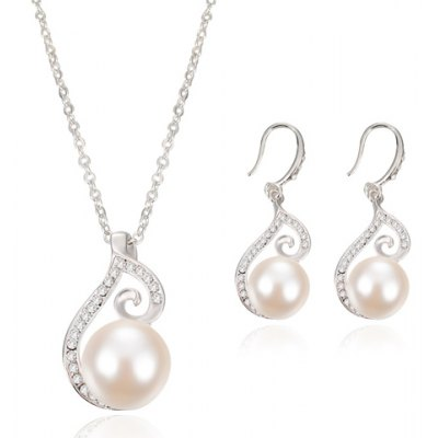 Graceful Rhinestone Faux Pearl Necklace and Earrings