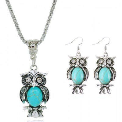 Night Owl Faux Turquoise Necklace and Earrings