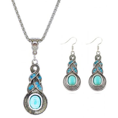 Retro Turquoise Rhinestone Necklace and Earrings
