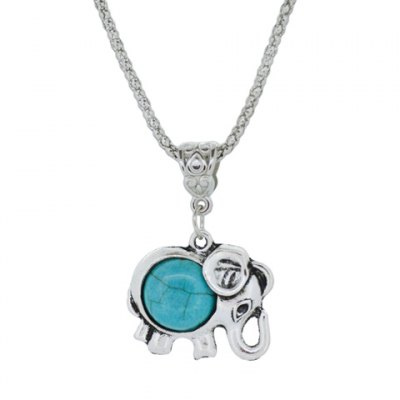 A Suit of Delicate Turquoise Elephant Necklace and Earrings For Women