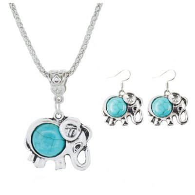 A Suit of Ethnic Faux Turquoise Elephant Necklace and Earrings