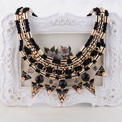 Characteristic Rhinestone Layered Triangle Necklace For Women