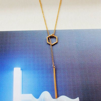 Simple Hollow Out Geometric Bar Pendant Necklace For Women
