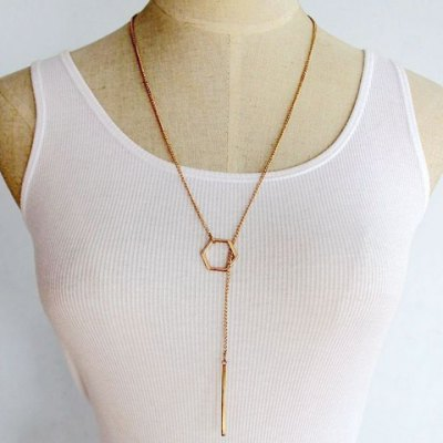 Bar Hollow Out Geometric Pendant Necklace