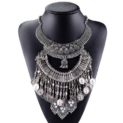 Vintage Coin Layered Tassel Necklace For Women
