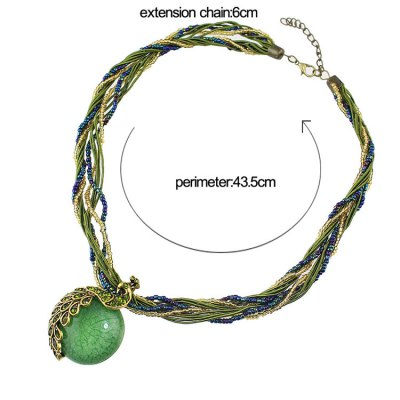 Фотография Fashionable Layered Bead Decorated Peacock Pendant Necklace For Women