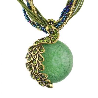 Fashionable Layered Bead Decorated Peacock Pendant Necklace For Women
