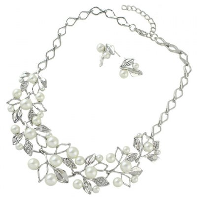 A Suit of Graceful Faux Pearl Leaf Necklace and Earrings For Women