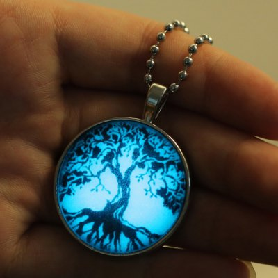 Фотография Delicate Tree Print Round Noctilucent Necklace For Women