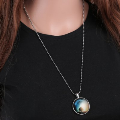 Trendy Tree Moon Print Round Noctilucent Necklace For Women