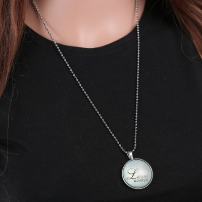 Romantic Letter Round Noctilucent Necklace