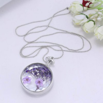 Delicate Round Lavender Specimens Floating Charm Necklace