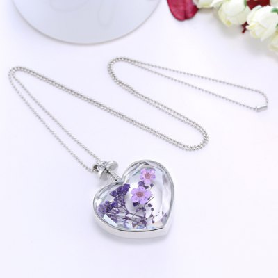 Romantic Flower Lavender Heart Floating Charm Necklace For Women