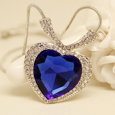 Chic Faux Sapphire Heart Pendant Necklace For Women