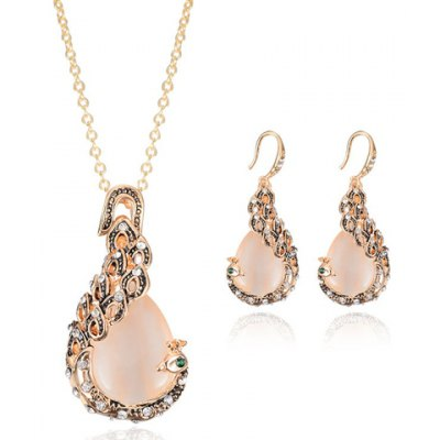 Charming Faux Opal Rhinestone Peacock Necklace and Earrings