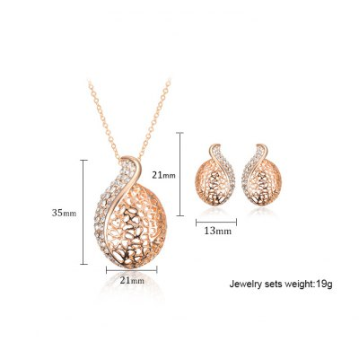 A Suit of Graceful Rhinestone Hollow Out Necklace and Earrings For WomenNecklaces &amp; Pendants<br>A Suit of Graceful Rhinestone Hollow Out Necklace and Earrings For Women<br><br>Item Type: Pendant Necklace<br>Gender: For Women<br>Material: Rhinestone<br>Style: Trendy<br>Shape/Pattern: Others<br>Length: 50CM-55CM(Necklace)/2.1CM(Earring)<br>Weight: 0.067KG<br>Package Contents: 1 x Necklace 1 x Earring(Pair)