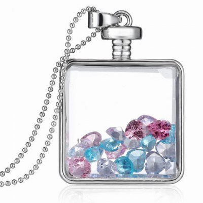Heart Shape Faux Crystal Square Pendant Necklace