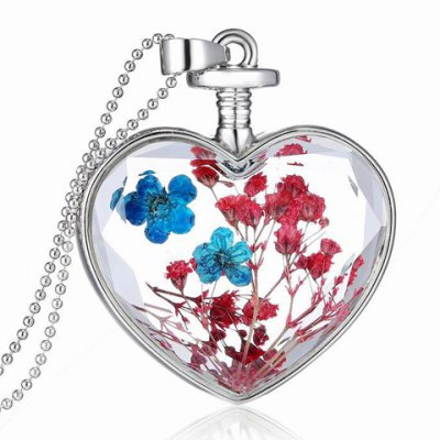Dried Flower Heart Pendant Necklace