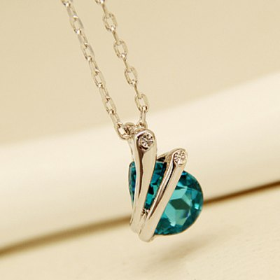 Charming Faux Crystal Waterdrop Pendant Necklace For Women