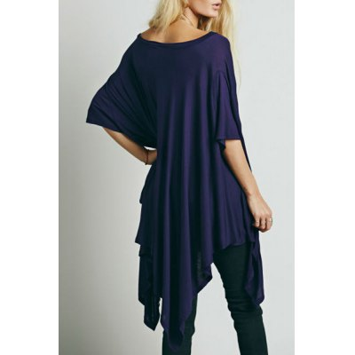 Trendy Scoop Neck 1/2 Sleeve Solid Color Asymmetrical T-Shirt For Women