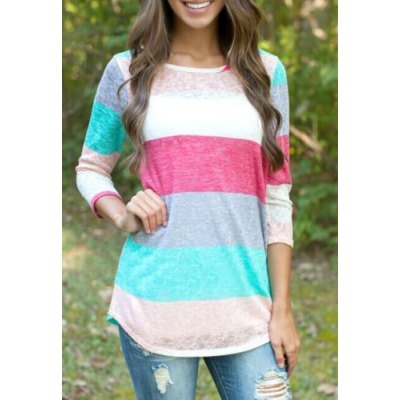 Stylish Scoop Neck 3/4 Sleeve Striped Colored Women