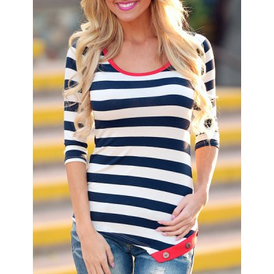 Stylish Scoop Neck 3/4 Sleeve Striped Asymmetrical Womens T-ShirtWomens T-Shirts<br>Stylish Scoop Neck 3/4 Sleeve Striped Asymmetrical Womens T-Shirt<br><br>Material: Polyester,Cotton Blends<br>Clothing Length: Long<br>Sleeve Length: Three Quarter<br>Collar: Scoop Neck<br>Style: Fashion<br>Pattern Type: Striped<br>Weight: 0.370KG<br>Package Contents: 1 x T-Shirt