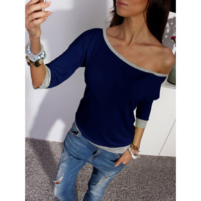 Stylish Skew Neck 3/4 Sleeve Hit Color Womens T-ShirtWomens T-Shirts<br>Stylish Skew Neck 3/4 Sleeve Hit Color Womens T-Shirt<br><br>Material: Polyester,Cotton Blends<br>Clothing Length: Regular<br>Sleeve Length: Three Quarter<br>Collar: Skew Collar<br>Style: Fashion<br>Pattern Type: Patchwork<br>Weight: 0.37KG<br>Package Contents: 1 x T-Shirt