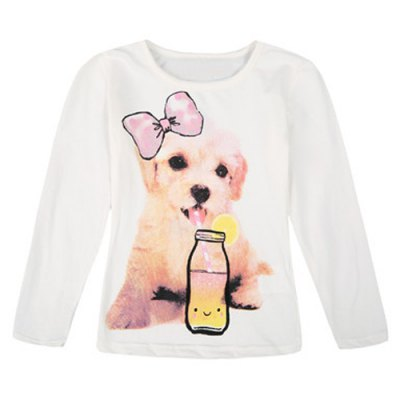 Stylish Long Sleeve Round Neck Dog and Bottle Pattern Girls T-ShirtGirls Clothing<br>Stylish Long Sleeve Round Neck Dog and Bottle Pattern Girls T-Shirt<br><br>Material: Cotton<br>Sleeve Length: Full<br>Collar: Round Neck<br>Style: Fashion<br>Pattern Type: Animal<br>Weight: 0.137KG<br>Package Contents: 1 x T-Shirt