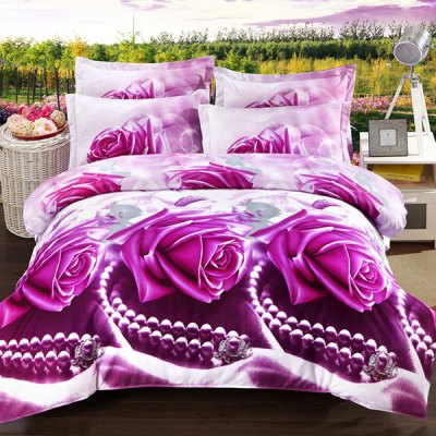 3D Oil Painting Pearl and Rose Pattern 4 Pcs Duvet Cover Sets(Without Comforter )