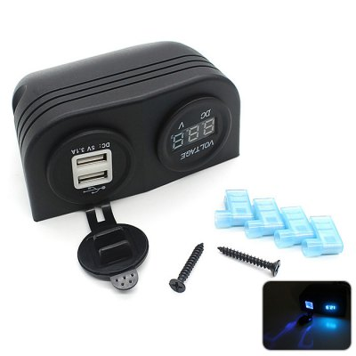 CS-292 3.1A Dual USB Charger Plug with Blue Lights Voltmeter Socket