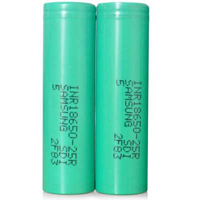 3.7V 2500mAh 18650 Rechargeable Li-ion Battery ( INR18650 - 25R )Batteries<br>3.7V 2500mAh 18650 Rechargeable Li-ion Battery ( INR18650 - 25R )<br><br>Type: Battery<br>Brand: SAMSUNG<br>Battery Type: Lithium-ion<br>Rechargeable: Yes<br>Protected: No<br>Voltage(V): 3.7V<br>Discharge Current: 30A<br>Mercury Free: Yes<br>Suitable for: MP4,MP3,Microphone,Flashlight,MP5,PDA,Digital Camera,CD Players,Car toys,Electronic Cigarette<br>Product weight: 0.044 kg<br>Package weight: 0.240 kg<br>Product size (L x W x H): 6.50 x 1.80 x 1.80 cm / 2.56 x 0.71 x 0.71 inches<br>Package size (L x W x H): 8.00 x 5.00 x 5.00 cm / 3.15 x 1.97 x 1.97 inches<br>Package Contents: 4 x 18650 Battery