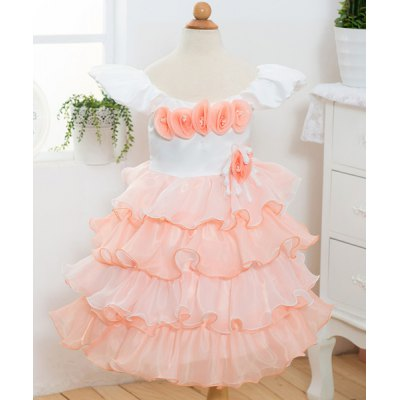 Cap Sleeve Flower Embellished Multi-Layered Princess Dress For Girl