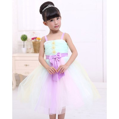 Sweet Sleeveless Flower Spliced Bowknot Design Ball Gown Dress For Girl