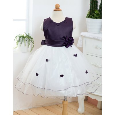 Round Neck Flower Embellished Butterfly Spliced Sleeveless Ball Gown Dress For Girl