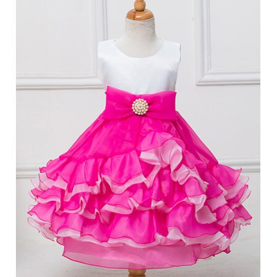 Cute Sleeveless Bowknot Embellished Multilayered Ball Gown Dress For Girl