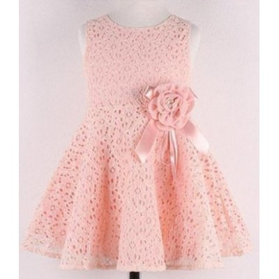 Sweet Sleeveless Hollow Out Flower Embellished Solid Color Girl's Lace Dress