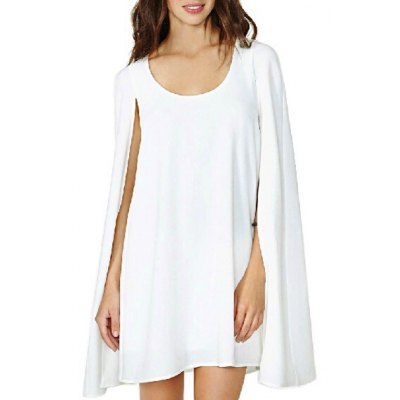 Stylish White Scoop Neck Long Split Sleeve Cape Dress For Women