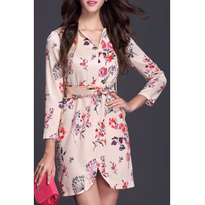 V-Neck Floral Print Chiffon Dress For Women