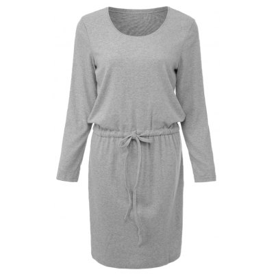 Chic Scoop Collar 3/4 Sleeve Pure Color Drawstring Kitted Dress For Women
