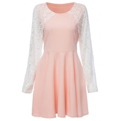 Fresh Style Round Collar Long Sleeve Lace Spliced Color Block A-Line Women's Dress