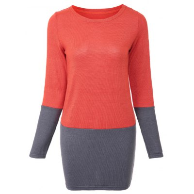 Chic Round Collar Long Sleeve Color Block Loose-Fitting Knitted Dress For Women