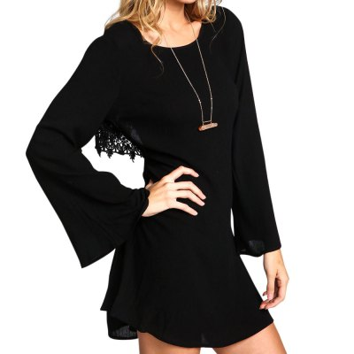 Stylish Scoop Collar Bell Sleeve Cut Out Back Lace Spliced A-Line Women's Mini Dress
