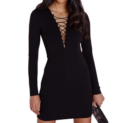 Sexy Plunging Neck Long Sleeve Criss-Cross Bodycon Women's Mini Dress