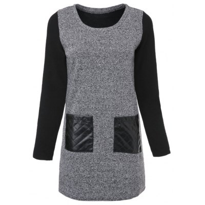Chic Round Collar Long Sleeve Color Block Faux Leather Spliced Dress For Women