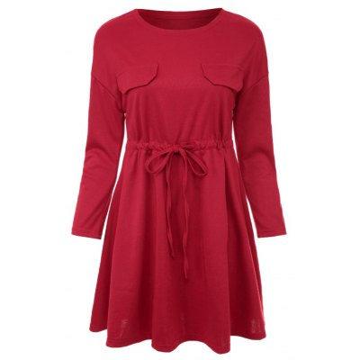 Sweet Round Collar Long Sleeve Pure Color A-Line Drawstring Mini Dress For Women