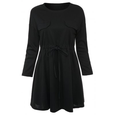 Sweet Round Collar Long Sleeve Pure Color Drawstring A-Line Women's Mini Dress
