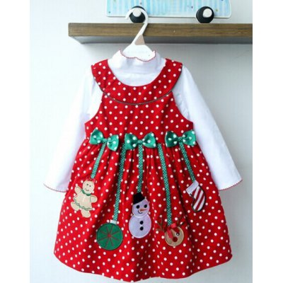 Solid Color T-Shirt + Sleeveless Polka Dot Bowknot Embellished Cartoon Spliced Dress Christmas Suits For Girl