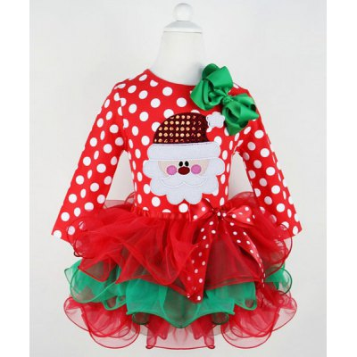 Polka Dot Santa Claus Spliced Multilayered Christmas Girl's Mini Dress